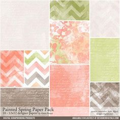 Painted Spring Paper Pack- Katie Pertiet Papers- PP204861- DesignerDigitals