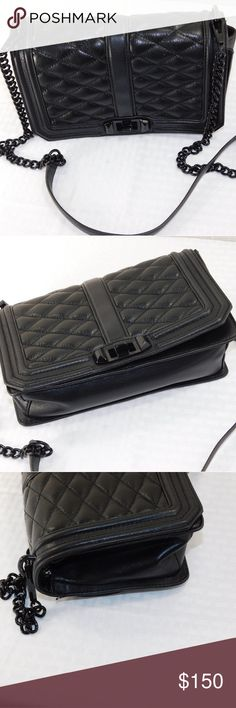 Rebecca Minkoff Quilted Love Crossbody Scratch on one side panel, loose thread on quilting, and wear on black hardware still a very nice bag at this price!    Height: 6.75in / 17cm Length: 10in / 25.5cm Depth: 3.25in / 8cm Strap drop: 21.75in / 55cm  A structured Rebecca Minkoff cross-body bag styled in quilted leather. A slim back pocket trims the back, and a polished turn lock opens the front. Lined, 4-pocket interior. Optional, adjustable shoulder strap. # Rebecca Minkoff Bags Crossbody…