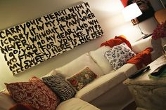 Creating large paintings full of text.  DIY Tutorial