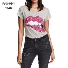Fashion Women T Shirts Latest T-shirt For Women Woman Short Sleeve Gray Tops Lips Sequins Shining All Match Top