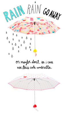 don't let a little drizzle ruin your day (or your hair, obviously). the rain or shine umbrella will keep you dry and looking cute so you can reenact that scene from the notebook as many times as you w Walking In The Rain, Singing In The Rain, Rainy Night, Rainy Days, Art And Illustration, Cute Umbrellas, I Need Vitamin Sea, Rain Go Away, Love Rain