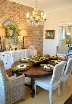 Awesome French Country Dining Room Furniture & Design Ideas - Page 8 of 65 French Country Dining Room, French Country Kitchens, Dining Room Furniture Design, Dining Room Table Centerpieces, Dining Table, Centerpiece Ideas, Tables, Diy Apartment Decor, Small Dining