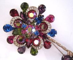 #Vintage #Jewelry Vintage Brooch Pin JULIANA or Weiss Red Blue Purple Rhinestone Gold tone Flower #Christmas #Gifts