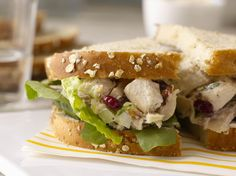 Chicken Salad with Cranberries. Chicken Salad with Dried Cranberries Fennel and Toasted Almonds from 'Gale Gand's Lunch!' Lunch will never be boring again! Deli Salad Recipe, Fresh Salad Recipes, Wrap Recipes, My Recipes, Cooking Recipes, Cooking Stuff, Lunch Recipes, Roasted Almonds, Sliced Almonds