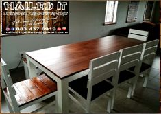 8 Seater dining room table with a 3 seater bench & 5 chairs. Affordable, custom built, wooden furniture. Designed by you, built by us. For more info, contact 0834376919 (whatsapp) or naileditpallets@gmail.com #diningroomfurniture #diningroomtable #diningtable #palletdiningtable #palletwoodprojects #palletfurniture #nailedpalletfurnituredurban #naileditcustombuiltpalletfurniture #custompalletfurniture #customfurnituredurban