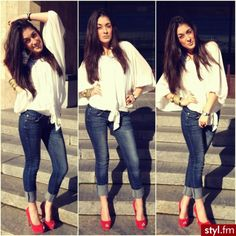 White blouse, cuffed blue jeans and slutty red shoes. Cute Date Outfits, Cute Spring Outfits, Pretty Outfits, Dress Outfits, Casual Outfits, Denim Fashion, Love Fashion, Fashion Outfits, Fasion