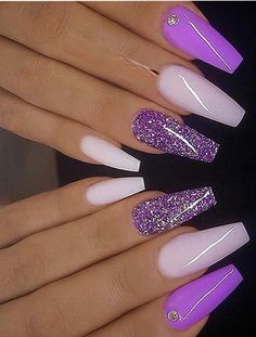 Modern looking and amazing trends of cutest purple milky pink and glitter on coffin nails for all the fashionable girls to show off in this year If you are thinking to change up you existing nails deigns then you must check out our latest collection - n French Manicure Acrylic Nails, Purple Acrylic Nails, Purple Nail Art, Purple Nail Designs, Best Acrylic Nails, Gel Nails, Blue Nail, Purple Nails With Glitter, Nail Polish