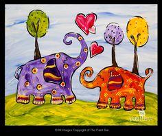 Lovey Dovey Elephants Painting (pretty cute!)