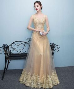 Gold lace tulle long prom dress, lace evening dresses, Shop plus-sized prom dresses for curvy figures and plus-size party dresses. Ball gowns for prom in plus sizes and short plus-sized prom dresses for Gold Evening Dresses, Gold Prom Dresses, Prom Dresses For Sale, Gold Dress, Dance Dresses, Evening Gowns, Bridesmaid Dresses, Dress Lace, Formal Dresses