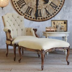 Duchess Bergere & Ottoman - Eloquence (Furniture Fit For An Empire Chair / ottoman Wood Fabric Antique Solid Upholstered Armchair Nailhead trim Natural Tufted Cream Living room)