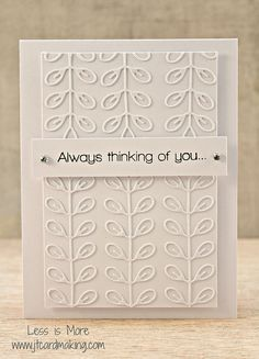 handmade greeting card ... white on white ... clean and simple ... embossing folder texture ... like this layout and look ... Stampin' Up!