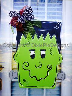 Frankenstein Door Hanger, In stock, Halloween Door Hanger, Fall Door Hanger, Monster Door Hanger, Frankie Door Hanger, Fall Door Sign by dixiepiedesigns on Etsy