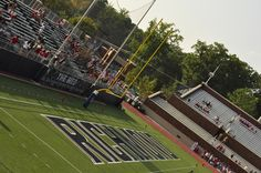 Saturday night Dave and I went to Richmond's first home game of the season! Their stadium is still brand new - only built last season - . University Of Richmond, Baseball Field, Spider, Football, Games, Night, Building, Hs Football, Plays
