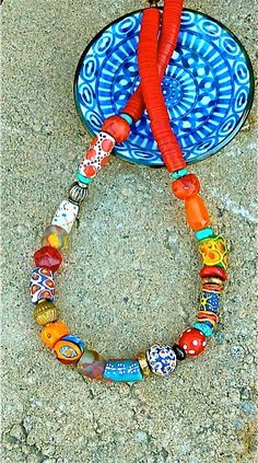 African Trade Bead Necklace - Tribal Red Vulcanite Vinyl Discs - Handcrafted Beaded - on Etsy, $225.00