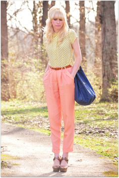 Yellow polka dots + coral trousers.