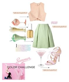 """summer brights!💗"" by egchee ❤ liked on Polyvore featuring Finders Keepers, Casadei, Essie, Rochas and Famous Footwear"