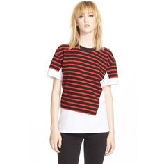MARC BY MARC JACOBS 'Jordyn' Stripe Surplus Cotton Tee (610 ILS) ❤ liked on Polyvore featuring tops, t-shirts, ruby red multi, short sleeve t shirts, white cotton tee, short sleeve tees, crew neck tee and cotton t shirt