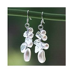 @Overstock - These artistic drop earrings have a silhouette that draws inspiration from the beauty of nature. Sparkling quartz crystals and white pearls hang together on silk threads, creating a waterfall effect. The shepherd-hook backs keep the earrings secure.   http://www.overstock.com/Worldstock-Fair-Trade/Sterling-Silver-Icicles-Pearl-and-Quartz-Earrings-Thailand/3179418/product.html?CID=214117 $22.49