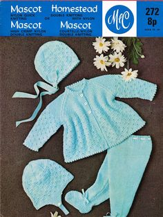 MC272 baby pram suit vintage knitting pattern PDF by Ellisadine