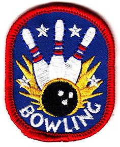 "[Single Count] Custom and Unique (2 1/4"" x 1 3/4"") Bowling Iron On Embroidered Applique Patch {Blue, Red and White Colors} myLife Brand Products http://www.amazon.com/dp/B010OST0SA/ref=cm_sw_r_pi_dp_PRyPvb161VXMK"