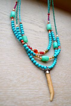 Triple Strand Colorful Asymmetrical Necklace with Dainty Turquoise Necklace, Beaded Necklace, Necklaces, Turquoise Color, Carnelian, Round Beads, Color Splash, Boho Chic, Colorful