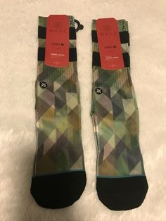 QUIKSILVER Men/'s Socks Sz 10-13 Shoe 6-12.5 Low Cut Surf Boards Surfing Large L