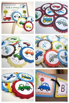 Transportation Vehicle Invitations  - Cars, Fire Truck, Train, Helicopter - Set of 8. $14.75, via Etsy.