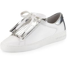 MICHAEL Michael Kors Keaton Kiltie Two-Tone Sneaker ($145) ❤ liked on Polyvore featuring shoes, sneakers, white sneakers, low top platform sneakers, white leather shoes, platform shoes and white shoes