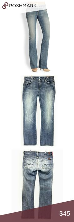 """New 7 for all Mankind Long Legs Boot Cut Jeans New with tags. Med to light wash. Approximate measurements laying flat: inseam 35"""", FR 8"""", BR 14"""", waist 32"""". 7 For All Mankind Jeans Boot Cut"""