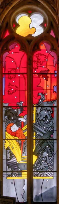 Moses and the burning bush : Jean - Michel · Alberola - Dominique Duchemin ( master glass artist ) - Saint-Cyr Cathedral and St. Julitta of Nevers, France
