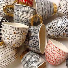 Suzanne Sullivan's super gorgeous pinched teacups   #ceramics #pottery #porcelain #lustre #gold #pattern