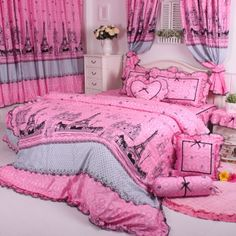 Cliab Pink Paris Bedding with Bed Skirt Duvet Cover Set Twin Full Queen King Cal King Size Optional (Queen) Cliab http://www.amazon.com/dp/B00JQ32QEU/ref=cm_sw_r_pi_dp_gmS.tb15J9B42