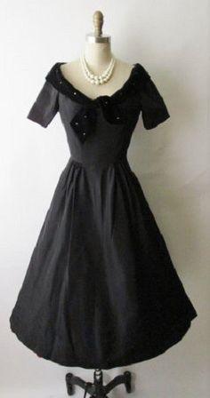 1950's black cocktail dresses | 1950's cocktail dress, black taffeta rhinestone velvet.