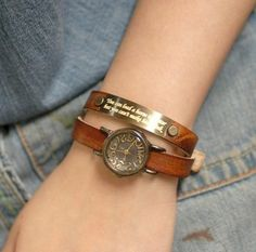 Antique effect watch with personalized message.