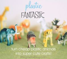 Oh my....Get creative with plastic animals and paint! Make ring holders, magnets, card holders.....she's so creative!