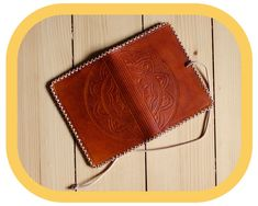 Travel Organizer Wallet - Brown Leather – Passport Cover – Travel Documents and Notebook Holder - Handcrafted – Hand tooled – Boho Leather Carving, Leather Art, Leather Tooling, Leather And Lace, Tan Leather, Leather Wallet, Festival Accessories, Passport Cover, Mandala Pattern