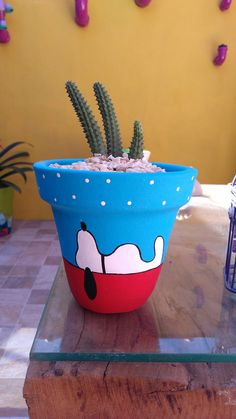 11 Cute DIY Flower Pots for Spring * aux-pays-des-fleu. 11 Cute DIY Flower Pots for Spring * the c Flower Pot Art, Flower Pot Design, Flower Pot Crafts, Cactus Flower, Cactus Cactus, Clay Pot Projects, Clay Pot Crafts, Diy And Crafts, Shell Crafts