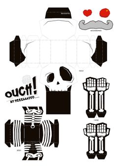 Ouch My Head Template Origami Paper Art, 3d Paper Crafts, Paper Toys, Diy Paper, Foam Crafts, Theme Halloween, Halloween Crafts, Toy Craft, Mini Craft
