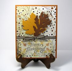 Thanksgiving Card  Autumn Fall Leaves card  hand by catSCRAPPIN, $5.00