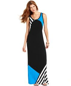 Style&co. Colorblocked Striped Maxi Dress