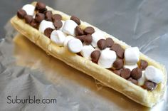 Campfire banana boat recipe: for an awesome variation add butterscotch or peanut butter chips. Yum!