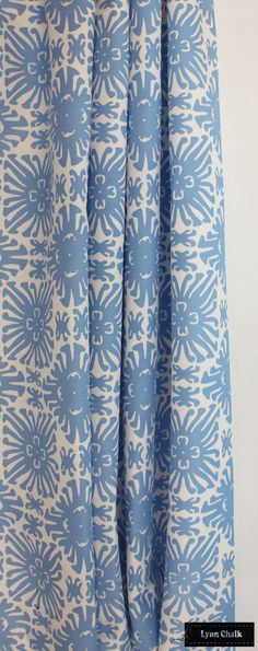 Custom Drapes by Lynn Chalk in Quadrille Sigourney Small Scale (shown in French Blue on White-comes in many colors and also in Large Scale)