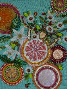 Heidi Kummli's packaging art work for Celestial Seasoning Grapefruit Tea, for Breast Cancer- such a masterpiece of bead embroidery