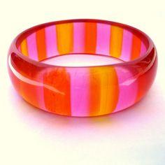 Vintage Lucite Bracelet Genuine 1960's Striped Orange & Pink Jello Bangle