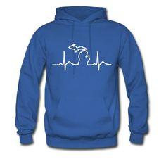 Michigan Heart Beat Clothing Apparel Shirts Hoodie | Spreadshirt | ID: 15099892