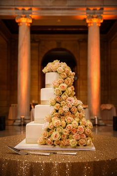 Four-Tiered Ivory Wedding Cake with Cascading Floral Decor | Michael Angelo's Bakery | Genevieve Nisly Photo | TheKnot.com column, wedding cakes floral, favorit cake