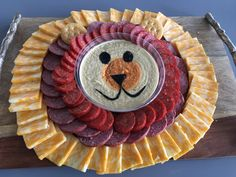 Simple Lion designed cheese and cracker platter for animal themed parties. Hummus, pepperoni, sausage, cheese, and ritz crackers. Lion Birthday Party, Lion King Birthday, Jungle Theme Birthday, Baby Boy 1st Birthday, Animal Birthday, Boy Birthday Parties, Birthday Ideas, Third Birthday, Safari Party