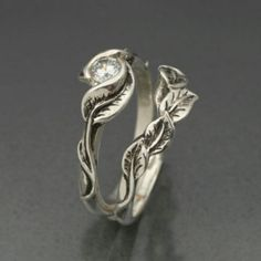 would prefer a different stone though wedding ring set delicate leaf engagement ring with matching wedding band this set in sterling silver - Hippie Wedding Rings
