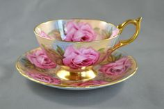 Vintage tea cup Aynsley gold pink roses sold $400+ $18 sh. Ebay 3.2017