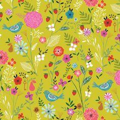 Tissu coton Dashwood Sweet escape Floral - lime x Design Textile, Design Floral, Fabric Design, Scandinavian Pattern, Boho Pattern, Pattern Design, Textiles, Nature Prints, Kids Prints